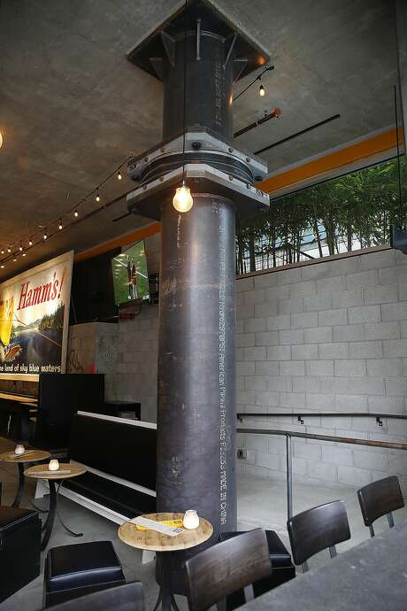 Below: A triple pendulum seismic isolation bearing gives 2 feet of leeway for movement in the Berkeley brew pub's new section in the event of an earthquake . Photo: Liz Hafalia, The Chronicle