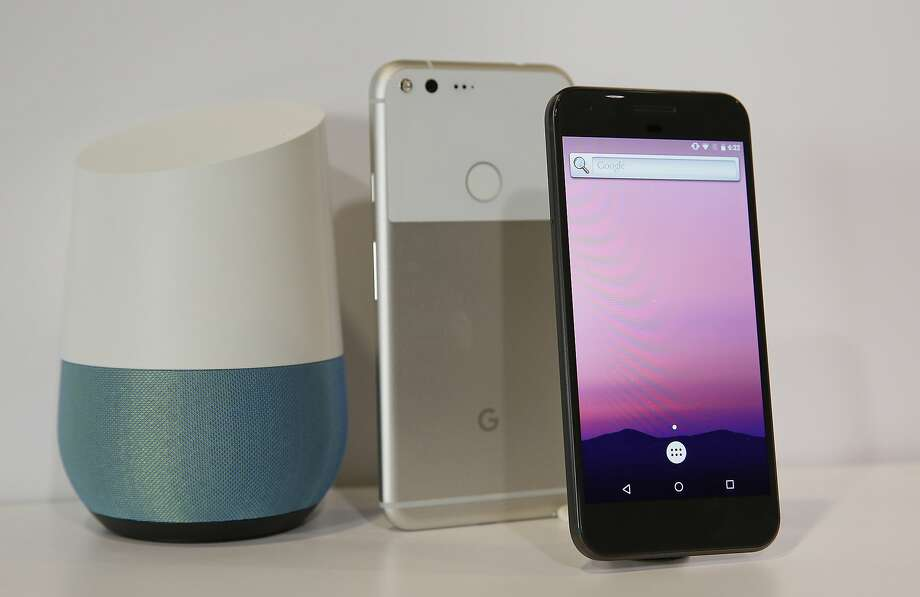 The new Google Pixel phone is displayed next to a Google Home smart speaker, which doesn't have as many partners as Amazon's Echo, but shows promise. Photo: Eric Risberg, Associated Press