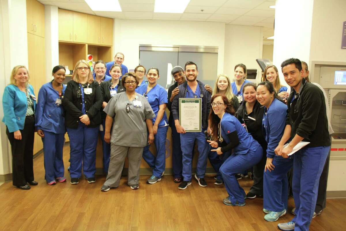 Andrew Stowers, a nurse on the 3 West unit, was all honored for his work ethic and compassion in caring for patients with a Daisy award.