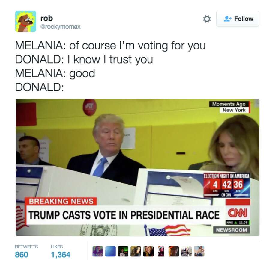 A tweet making fun of Donald Trump's glance over at Melania while she was voting. Photo: Screenshot