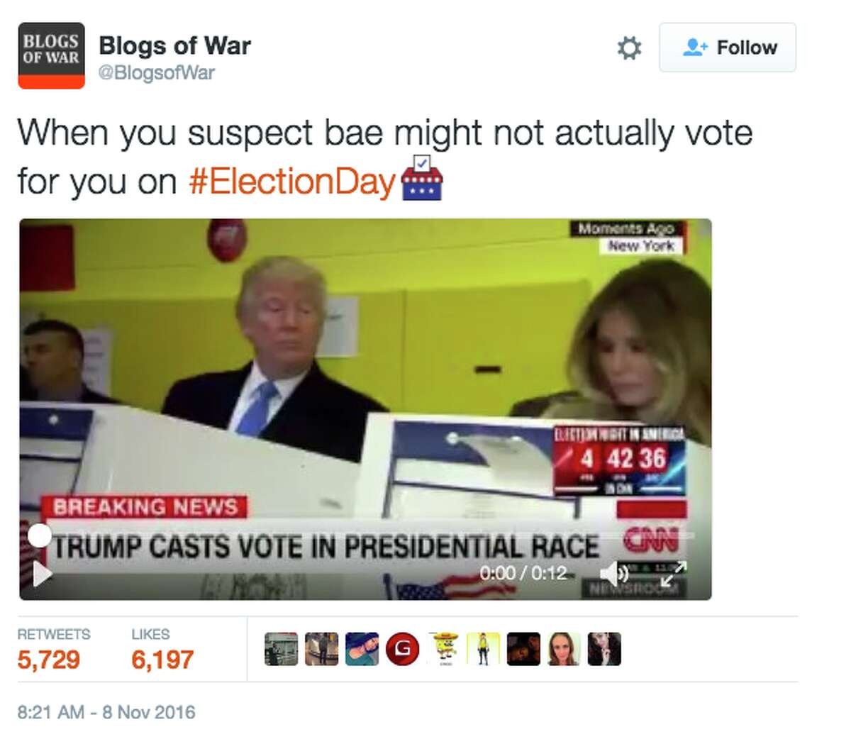 A tweet making fun of Donald Trump's glance over at Melania while she was voting.