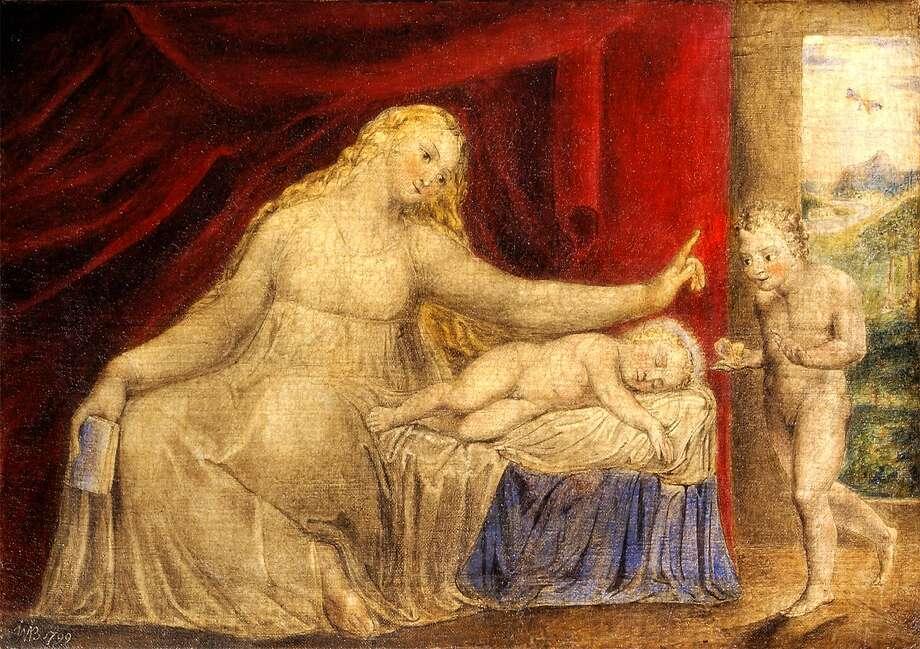 "William Blake, ""The Virgin Hushing the Young John the Baptist"" (1799), a rare Blake painting Photo: Courtesy�John Windle Antiquarian Bookseller"