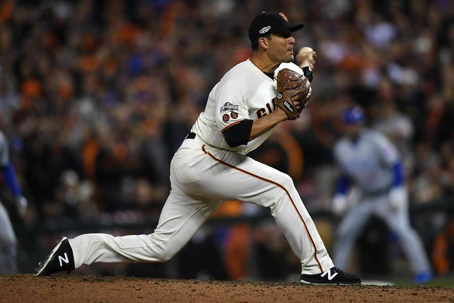 SAN FRANCISCO, CA - OCTOBER 11:  Javier Lopez #49 of the San Francisco Giants pitches against the Chicago Cubs in the ninth inning of Game Four of their National League Division Series at AT&T Park on October 11, 2016 in San Francisco, California.  (Photo by Thearon W. Henderson/Getty Images) Photo: Thearon W. Henderson, Getty Images