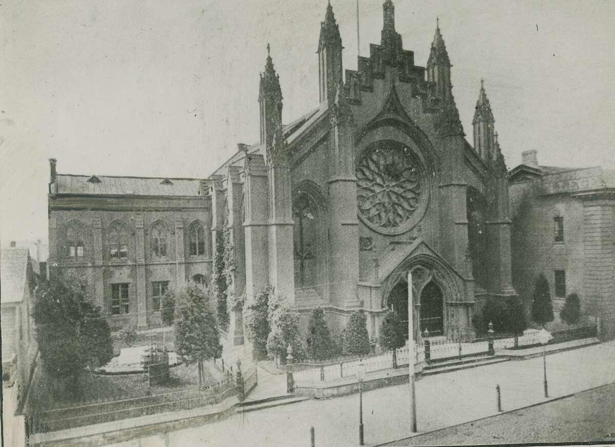 Thomas Starr King's church on Geary, near the southeast corner of Union Square.