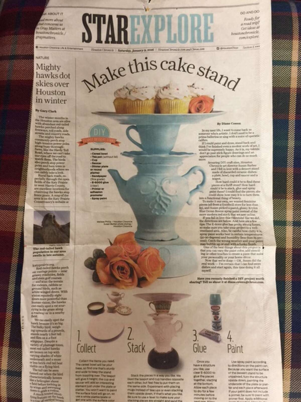 This DIY project urged readers to make a cake stand out of discarded dishes.