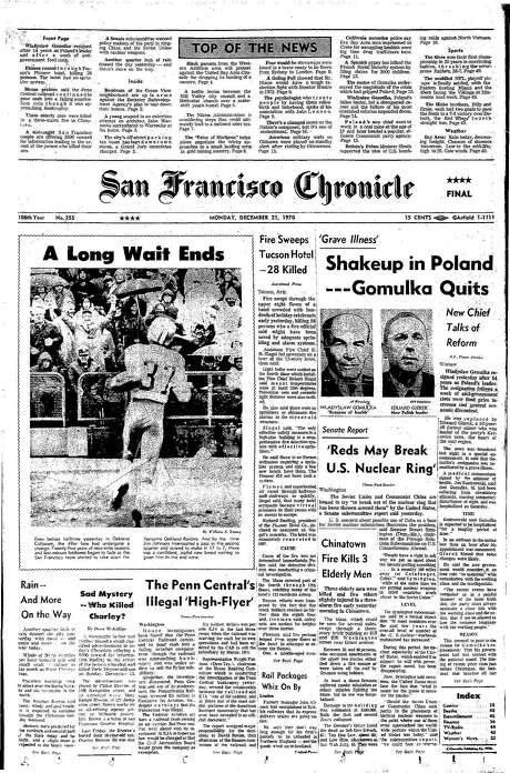 The Chronicle's front page from Dec. 21, 1970, covers the 49ers' advance to the NFC Championship Game. Photo: The Chronicle 1970
