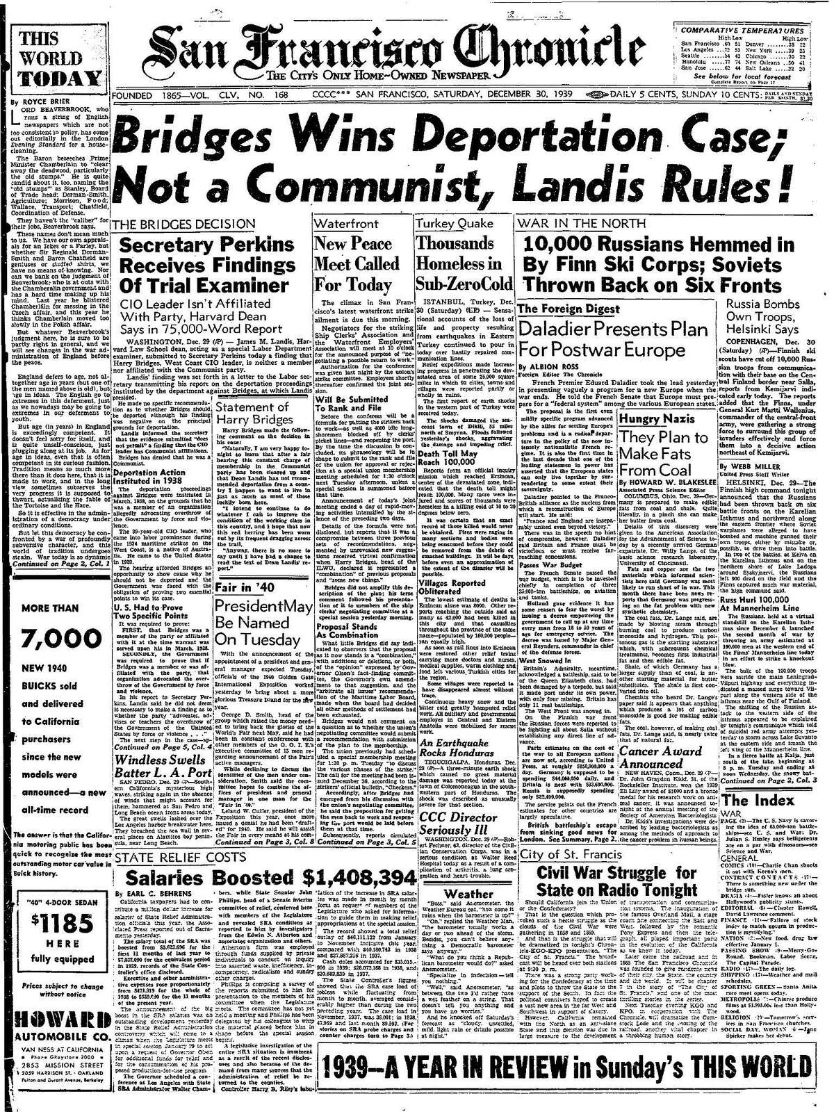 Historic Chronicle Front Page December 30, 1939 San Francisco labor leader Harry Bridges wins deportation case Chron365, Chroncover