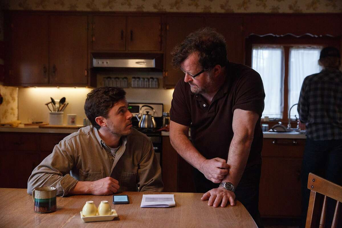 """L-R: Casey Affleck and writer/director Kenneth Lonergan on the set of """"Manchester by the Sea."""" Photo by Claire Folger, courtesy of Amazon Studios and Roadside Attractions."""