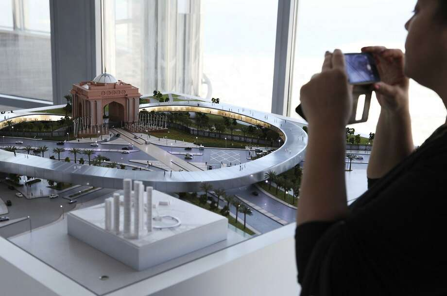A model of a Hyperloop One line is displayed in Dubai, where the company announced plans to explore a link to Abu Dhabi. Photo: Jon Gambrell, Associated Press