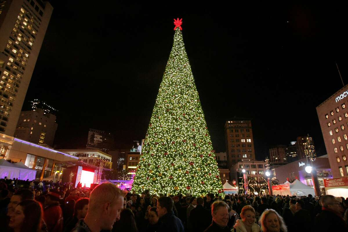 Macy's Christmas tree is lit for the first time this holiday season in Union Square in San Francisco, Calif., on Friday, Nov. 25, 2011.