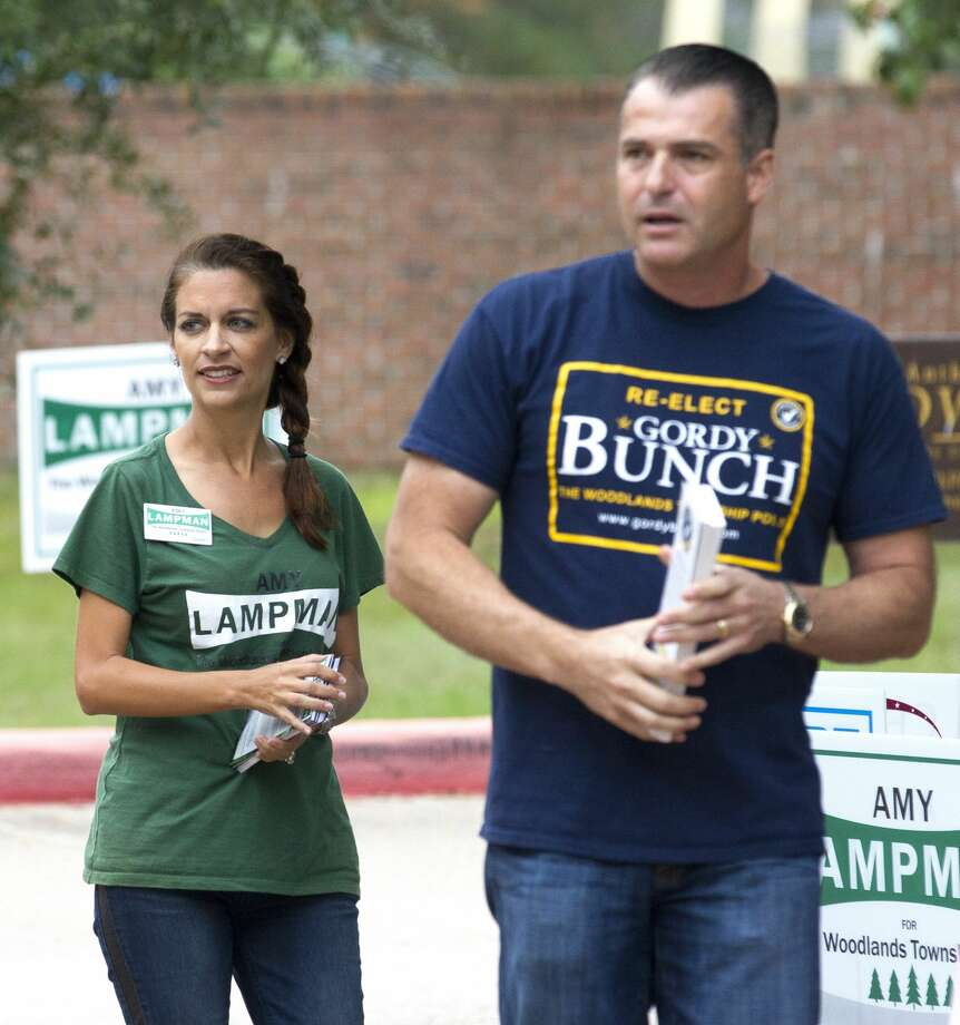 Gordy Bunch, incumbent candidate for The Woodlands Township Position 1, is seen along fellow candidate Amy Lampman as the two campaign outside the voting location at Galatas Elementary Tuesday, Nov. 8, 2016, in The Woodlands. Bunch easily won reelection . Photo: Jason Fochtman/Houston Chronicle