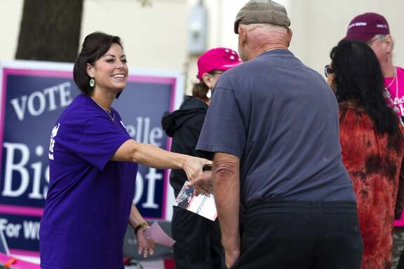 Renee House, candidate for Willis ISD school board position 2, greets voters at the Panorama Village City Hall Tuesday, Nov. 8, 2016, in Panorama. House is running for position 2 against James Bishop and incumbent Sue Ann Powell.
