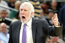 Spurs coach Gregg Popovich looks for a call during first half action against the Los Angeles Clippers on Nov. 5, 2016 at the AT&T Center.
