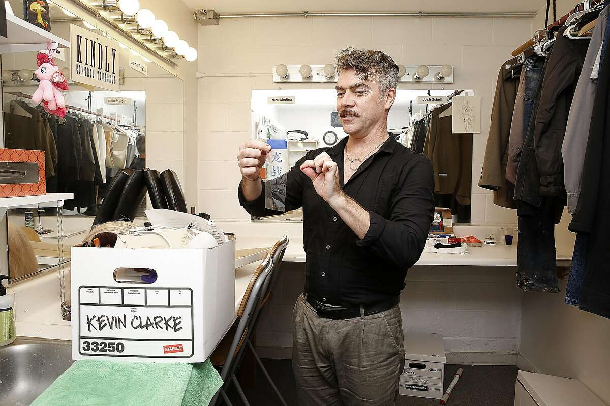 Actor Kevin Clarke shows how he does tattoos and make up for his performances at Berkeley theater company Shotgun Players on Monday, November 7, 2016, in Berkeley, Calif.