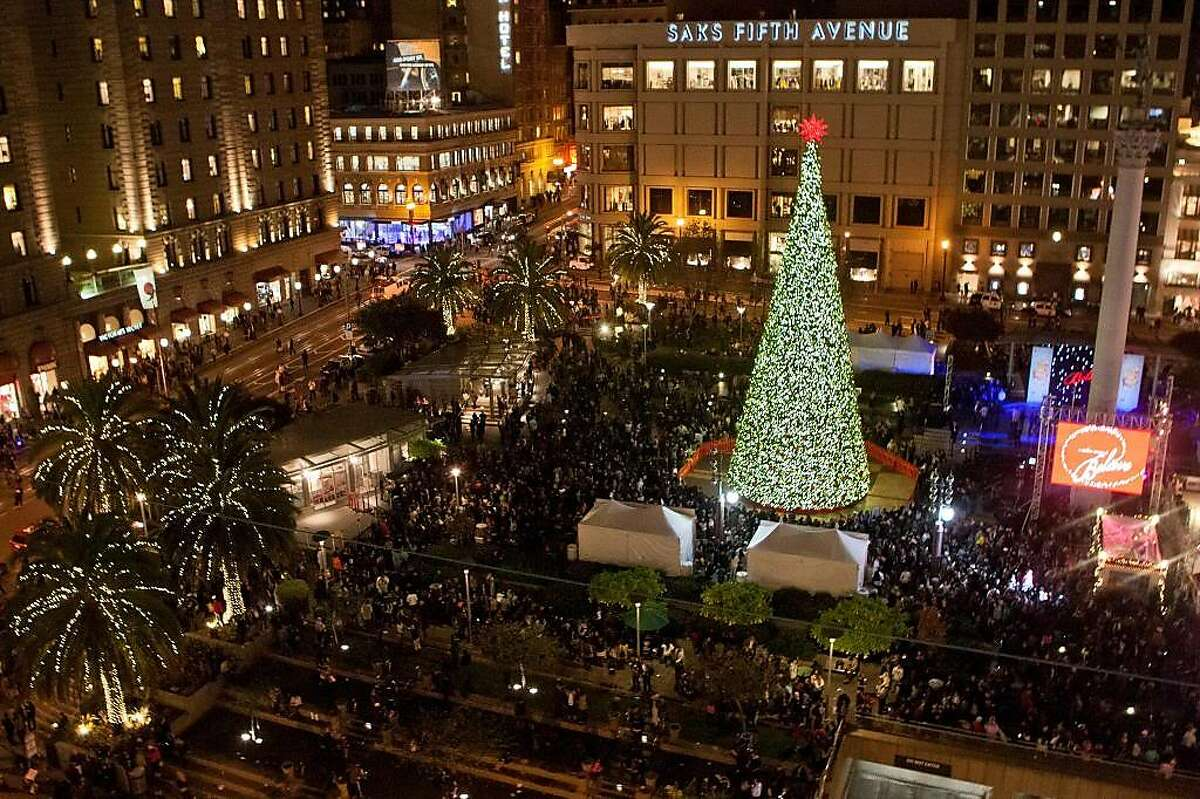 Macy's annual tree lighting in Union Square.