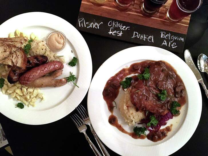 Examples of what Little Gretel in Boerne does especially well. A sausage plate, at left, with boar, buffalo and bratwurst sausages and sides of sauerkraut and spaetzle. At right, Jaeger schnitzel with potatoes and red cabbage. The restaurant also offers a flight of four European draft beers.