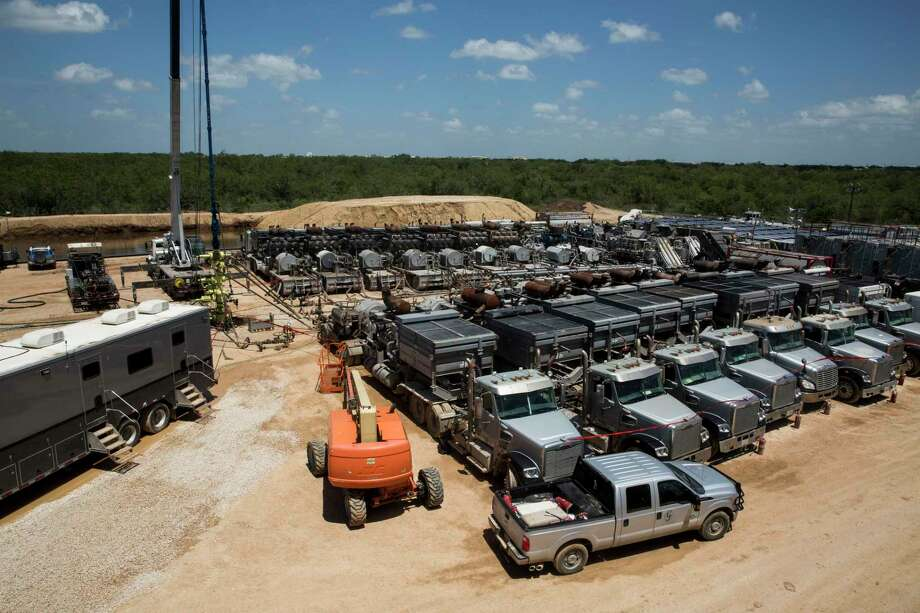 Abraxas produced 9,900 barrels a day of oil as of the end of last year, the company said in its annual 2019 report. It sold off its South Texas assets in the fall, but still has operations operations in West Texas' Permian Basin and the Williston Basin in North Dakota. Shown in this 2016 photo is an Abraxas frac spread. Photo: Carolyn Van Houten /Staff File Photo / 2016 San Antonio Express-News
