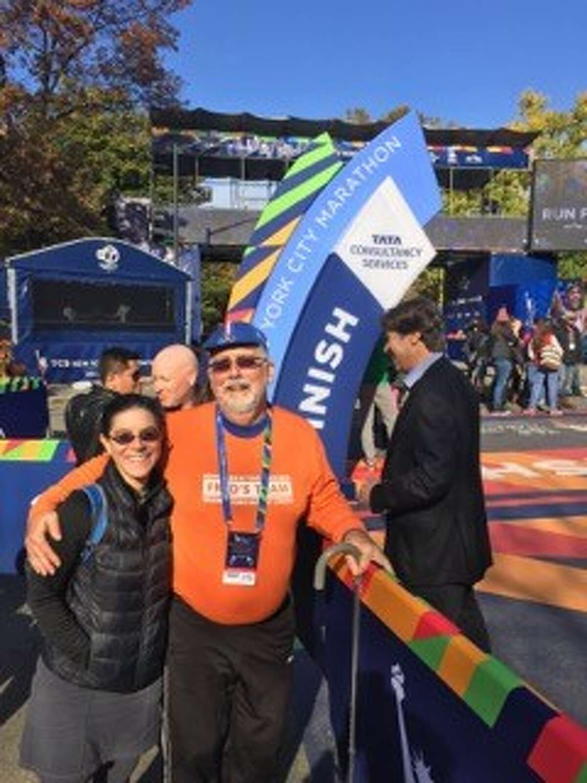 The Rev. Don Paine, a minister and Albany therapist who came back from being hit by a car and fracturing his pelvis, crossed the finish line of the New York City Marathon on Saturday for his 28th marathone completed in a unique fashion (Photo courtesy of Don Paine)