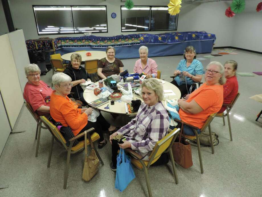 Members of the Lost Arts Club are shown at a recent meeting as they worked on scarves for Operation Gratitude. Members are shown clockwise beginning front and center: Gail Williamson, Pat Craig, Mary Etta Clemonds, Deanna Stewart, Linda Doolin, June Damek, Betty Boyd, Donna Nugent and Barb McFadden. Photo: Submitted