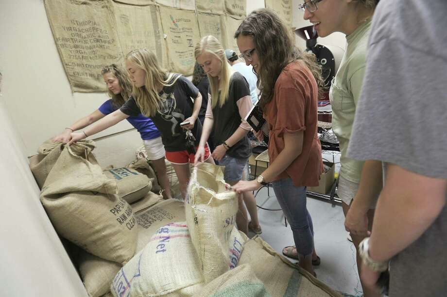Texas A&M students check out raw coffee beans at What's the Buzz coffee roaster as part of a class trip with professor Leo Lombardini, on Thursday, Oct. 20, 2016, in College Station. ( Elizabeth Conley / Houston Chronicle ) Photo: Elizabeth Conley, Staff / Houston Chronicle / © 2016 Houston Chronicle