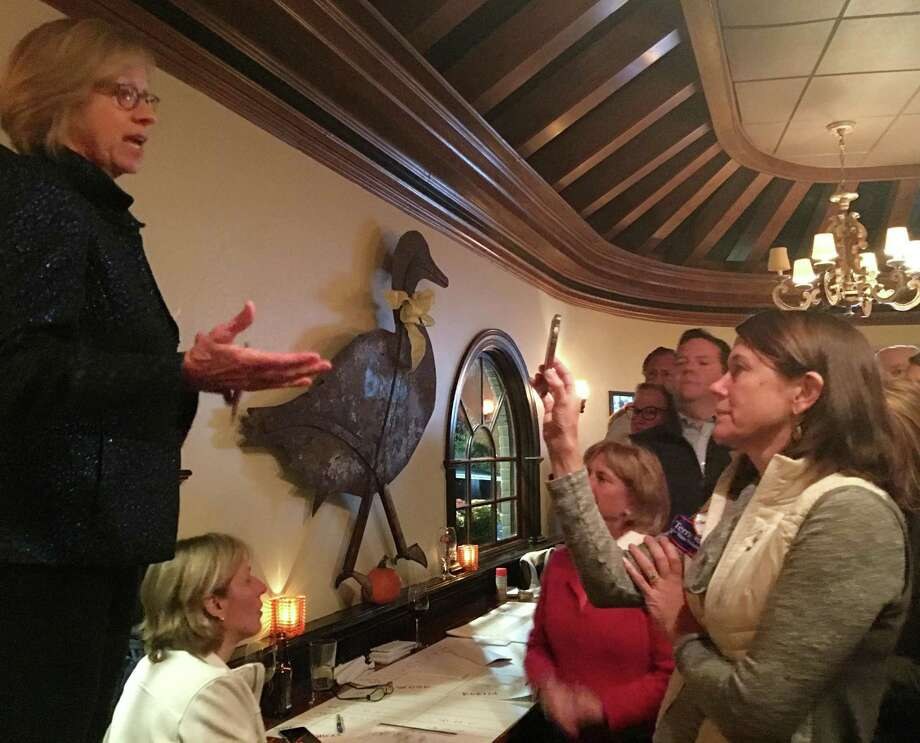 Rep. Terrie Wood, left, thanks supporters at the Goose American Bistro & Bar in Darien on Tuesday. Photo: Erin Kayata / Hearst Connecticut Media / Darien News