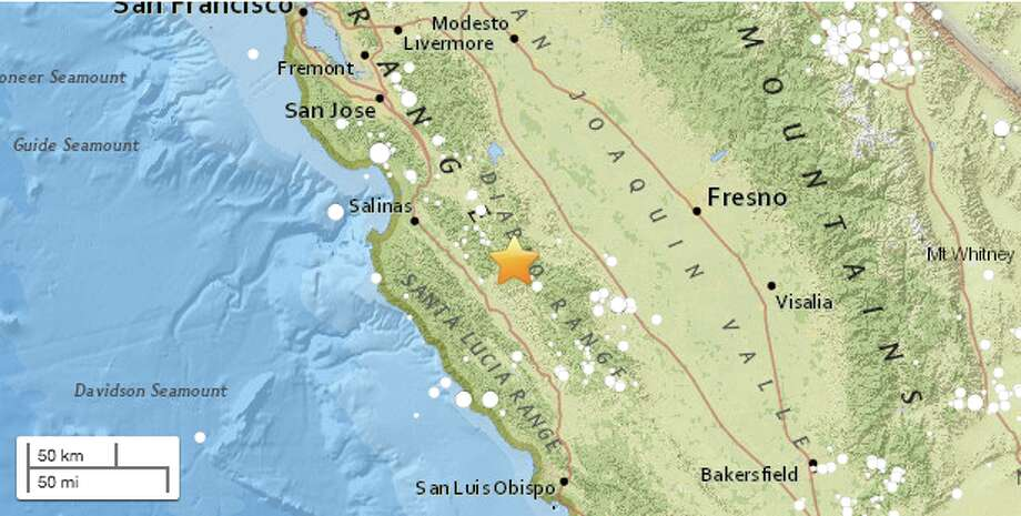 The tremor hit at 4:55 p.m. and was centered 8.7 miles east-southeast of Pinnacles. Photo: USGS