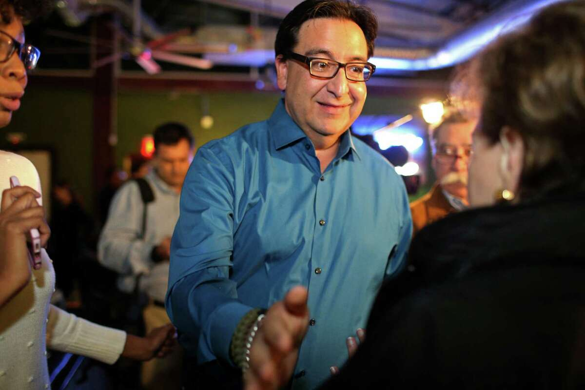 U.S. District 23 Democratic candidate Pete Gallego greets supporters gathered at the Paramour to await the results, Tuesday, Nov. 8, 2016. Gallego is up against Republican incumbent Will Hurd in one of the most hotly contested congressional races in the country.