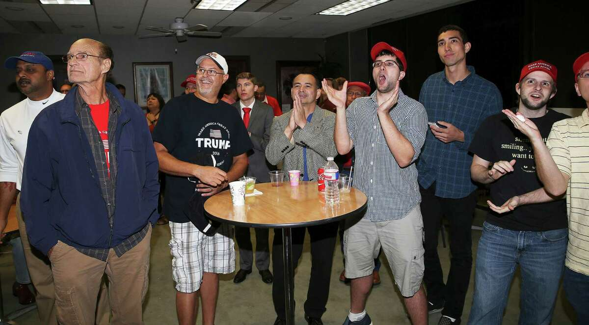 Early results are cheered as Bexar County Republicans hold their election night watch party at their headquarters at 909 NE Loop 410 on November 8, 2016.