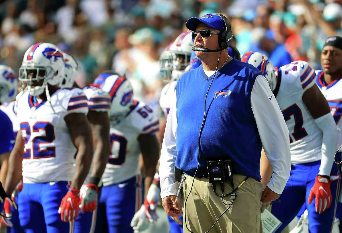 MIAMI GARDENS, FL - OCTOBER 23: Head coach Rex Ryan of the Buffalo Bills looks on during a game against the Miami Dolphins at Hard Rock Stadium on October 23, 2016 in Miami Gardens, Florida. (Photo by Mike Ehrmann/Getty Images) ORG XMIT: 663913119