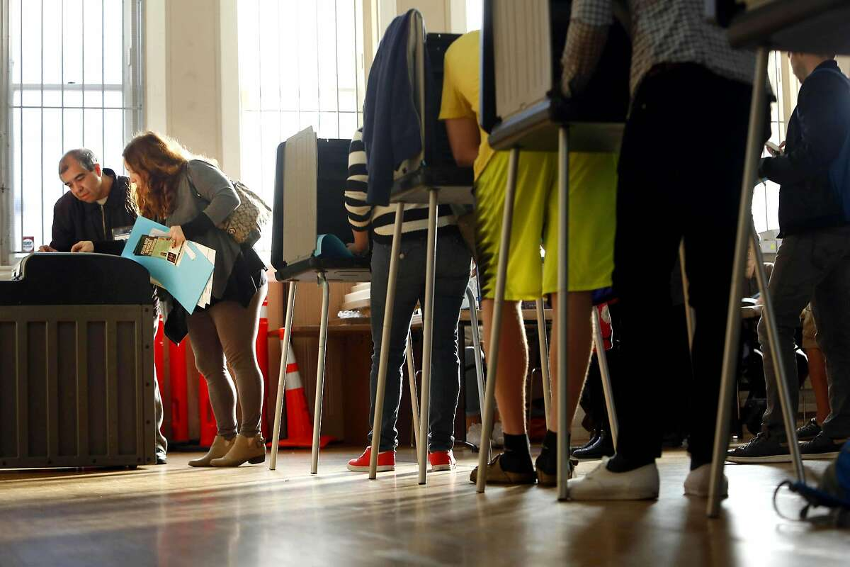 A 2016 file photo of voting in the Mission Presbyterian Church in San Francisco.
