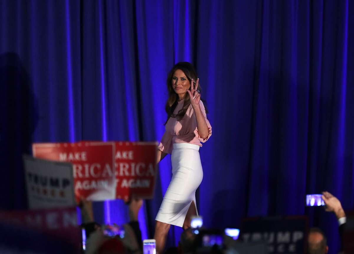 BERWYN, PA - NOVEMBER 03: Melania Trump, wife of Republican presidential nominee Donald Trump, gestures to supporters during a campaign event November 3, 2016 in Berwyn, Pennsylvania. Melania Trump campaigned for her husband, five days before the nation pick her next president. (Photo by Alex Wong/Getty Images)
