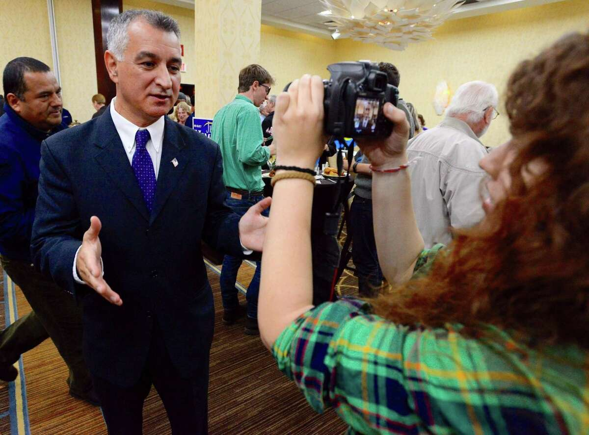 State Sen. Carlo Leone is interviewed during the Democratic election night party at the Stamford Sheraton on Nov. 8, 1016.
