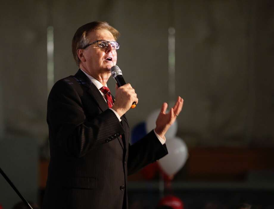 Texas Lt. Gov. Dan Patrick at an election watch party at the Harris County Republican Party offices in Houston on Tuesday. Photo: James Nielsen, Chronicle