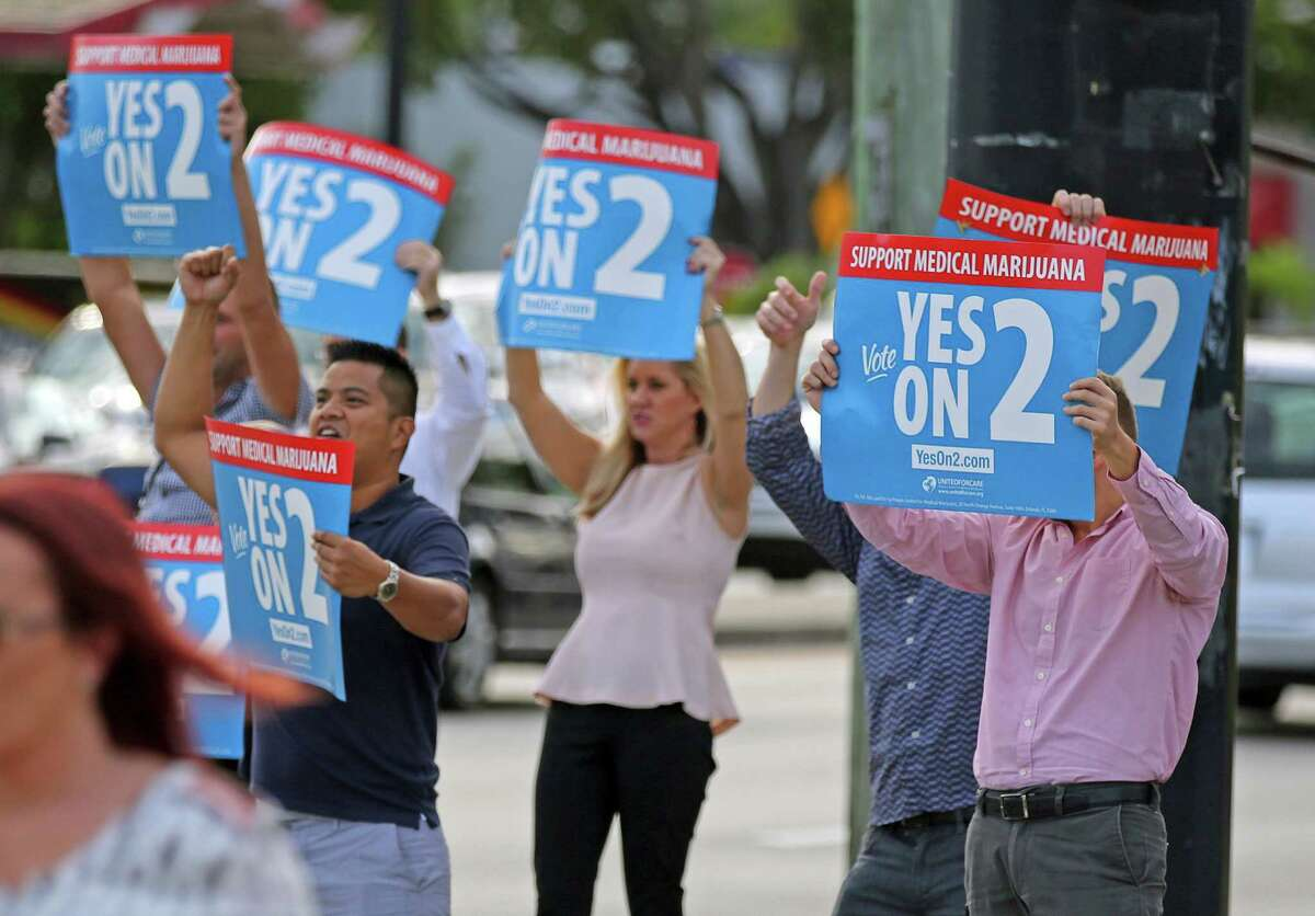 Supporters of an amendment to legalize medical marijuana had reason to cheer in Fort Lauderdale after the measure passed in Florida, one of nine states that voted on marijuana measures.
