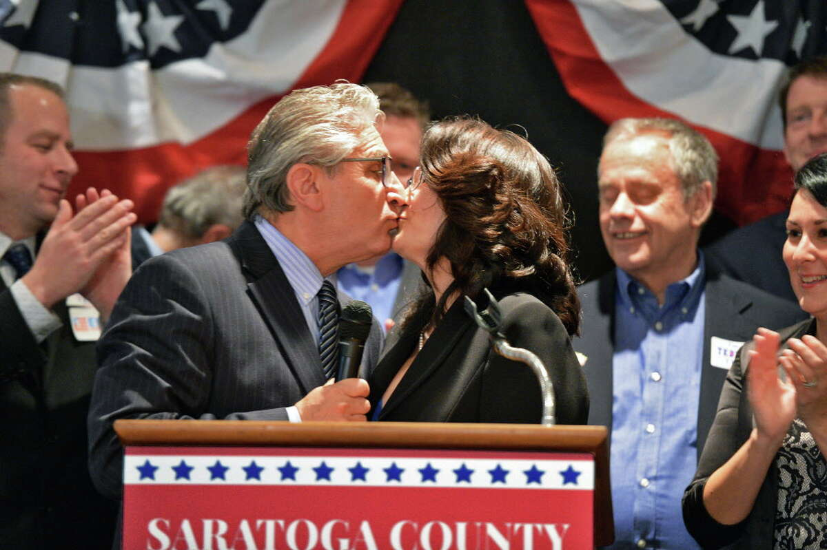 State Senate candidate Jim Tedisco,kisses his wife Mary during his victory speech a the Saratoga County Republican Committee gathering Tuesday Nov. 8, 2016 in Saratoga Springs, NY. (John Carl D'Annibale / Times Union)