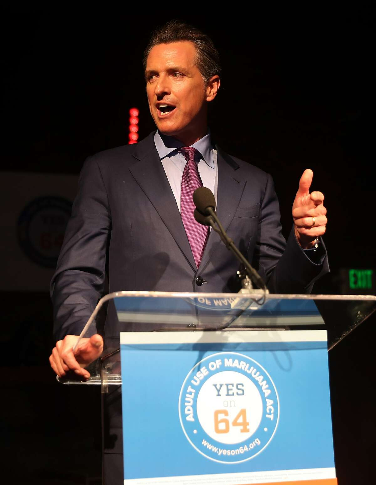 California Lieutenant Governor Gavin Newsom talks about the passing of Propositions 63 and 64 during during Democratic election night party at Verso in San Francisco, Calif., on Tuesday, November 8, 2016.