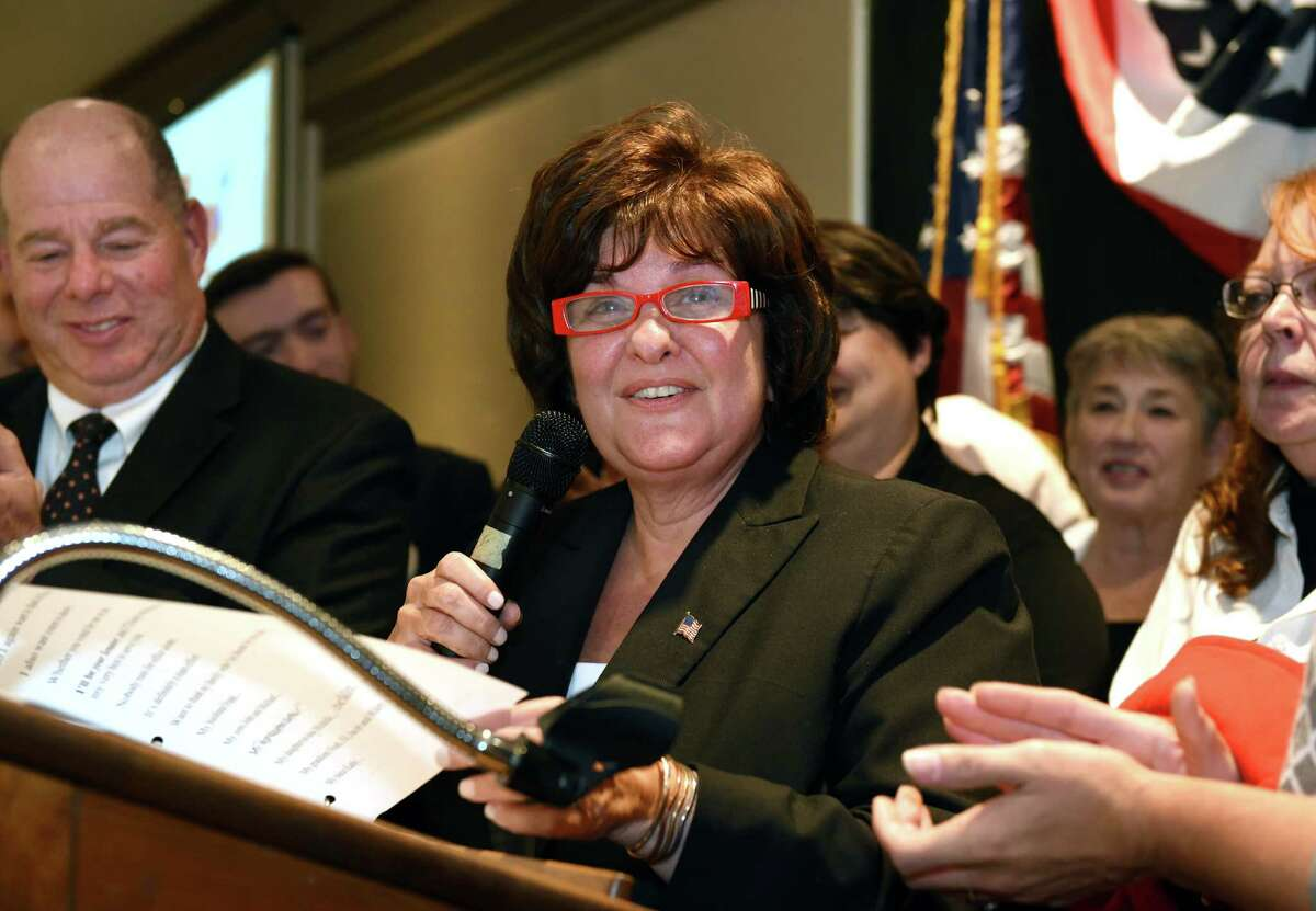 State Senate candidate Kathy Marchione gives a victory speech to a the Saratoga County Republican Committee gathering Tuesday Nov. 8, 2016 in Saratoga Springs, NY. (John Carl D'Annibale / Times Union)