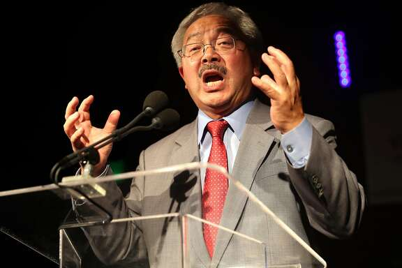 San Francisco Mayor Ed Lee speaks during Democratic election night party at Verso in San Francisco, Calif., on Tuesday, November 8, 2016.