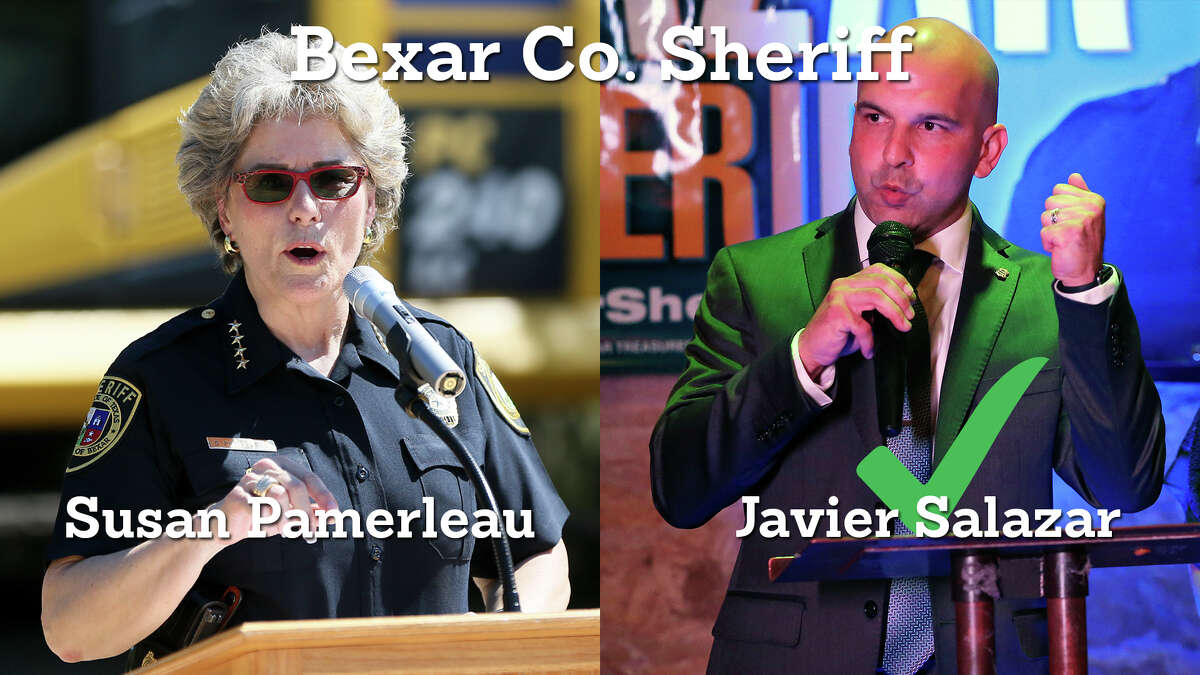 Democrat Javier Salazar, a San Antonio police officer who has never run for elected office defeated Republican Sheriff Susan Pamerleau.