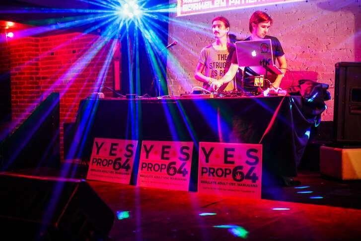 Nick Mann and Andrew Warner (right) DJ the Berkeley Patients Group Party to celebrate Prop 64, at The New Parish Oakland, California, on Tuesday, Nov. 8, 2016.