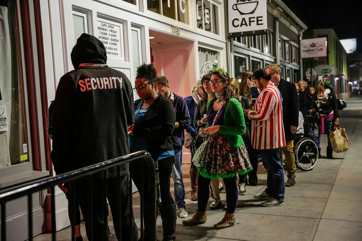 People wait in line to attend the Berkeley Patients Group Party to celebrate Prop 64, at The New Parish Oakland, California, on Tuesday, Nov. 8, 2016.