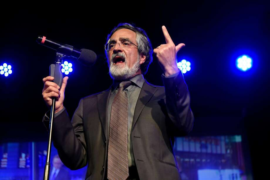 District 3 Supervisor Aaron Peskin gives a short speech after winning his race, at the Oasis Nightclub in San Francisco, CA, Tuesday, November 8, 2016. Photo: Michael Short, Special To The Chronicle
