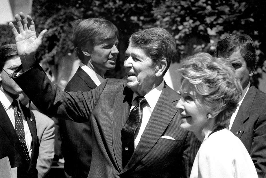 June 4, 1990: Ronald and Nancy Reagan, the year after he left office, during a rare visit to San Francisco. They were visiting Mikhail and Raisa Gorbachev. Photo: Michael Maloney, The Chronicle