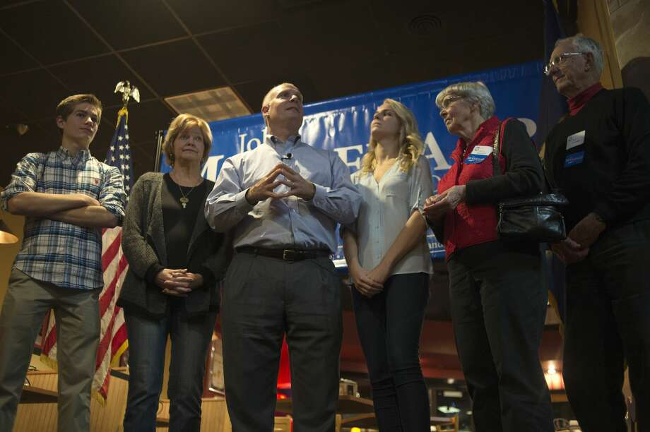 U.S. Rep. John Moolenaar thanked members of his family, staff and those who voted for him during a speech at Pizza Sam's in Midland Tuesday evening. Moolenaar defeated Democrat Debra Wirth in the 4th District U.S. House seat in  first reelection bid. Photo: Brittney Lohmiller/Midland Daily News/Brittney Lohmiller