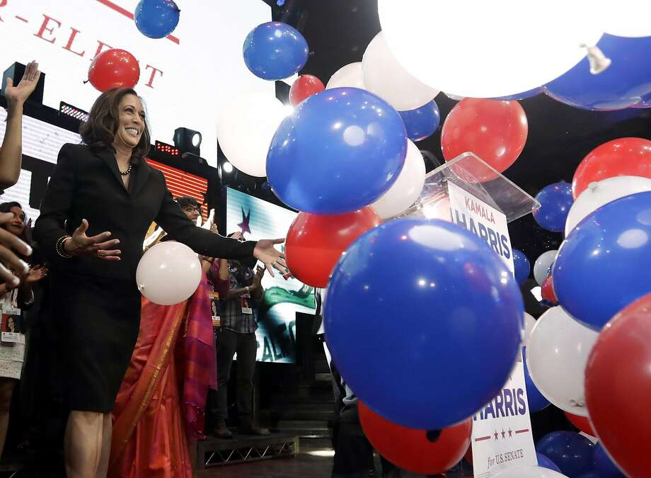 Democratic U.S. Senate candidate, Attorney General Kamala Harris greets supporters at a election night rally Tuesday, Nov. 8, 2016 in Los Angeles. (AP Photo/Chris Carlson) Photo: Chris Carlson, Associated Press
