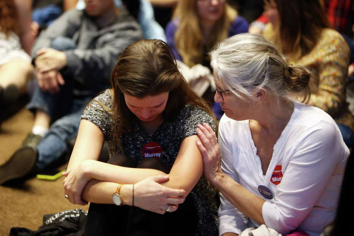 People react as election results favorable for Donald Trump come in at the Washington Democrats election night party, Tuesday, Nov. 8, 2016, at the Westin Seattle hotel.
