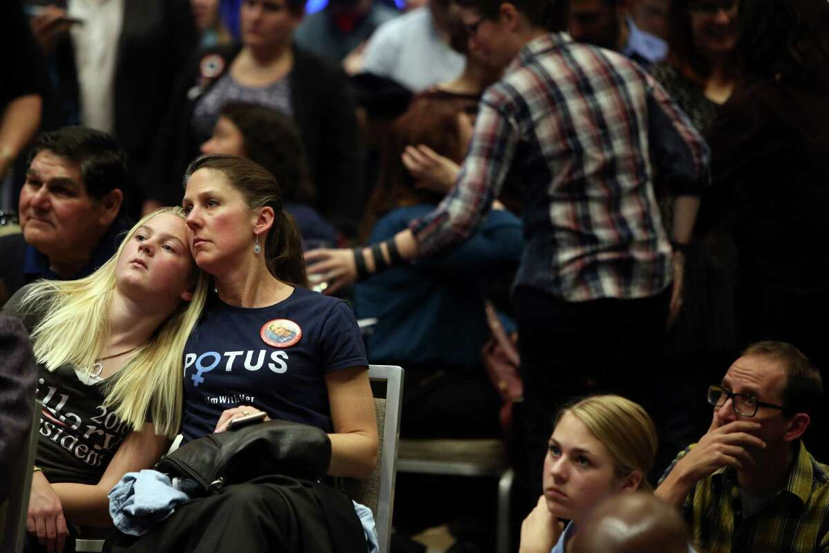 People react as election results favorable for Donald Trump come in at the Washington Democrats election night party.