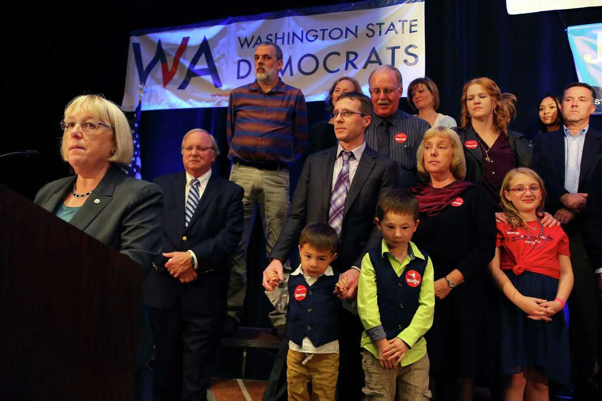 Patty Murray addresses the crowd after being re-elected U.S. Senator, at the Washington Democrats election night party, Tuesday, Nov. 8, 2016, at the Seattle Westin.