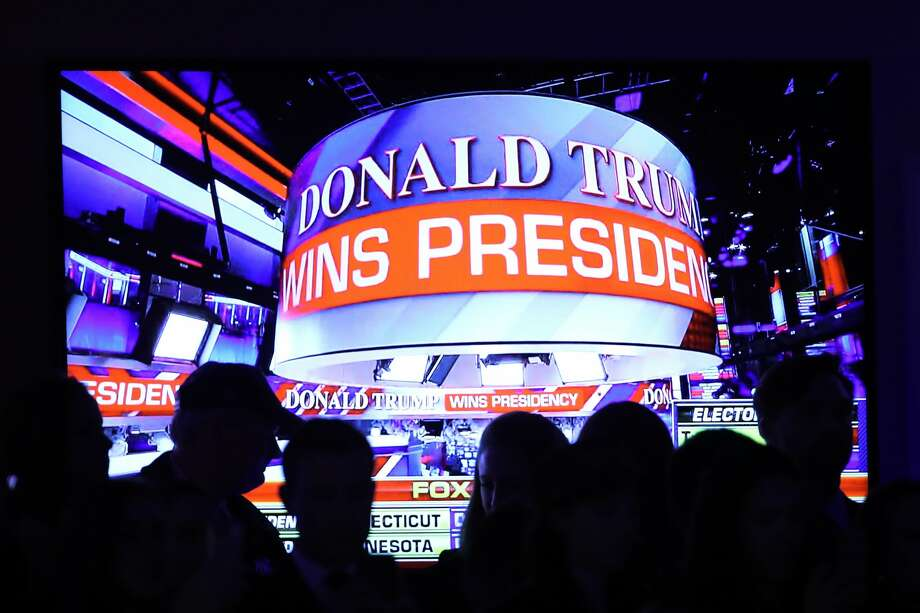 People celebrate during the call for Republican president-elect Donald Trump at his election night event at the New York Hilton Midtown on November 9, 2016 in New York City. at the New York Hilton Midtown in the early morning hours of November 9, 2016 in New York City. Donald Trump defeated Democratic presidential nominee Hillary Clinton to become the 45th president of the United States. Photo: Mark Wilson/Getty Images