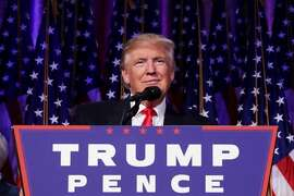 Republican president-elect Donald Trump delivers his acceptance speech during his election night event at the New York Hilton Midtown in the early morning hours of November 9, 2016 in New York City. Donald Trump defeated Democratic presidential nominee Hillary Clinton to become the 45th president of the United States.